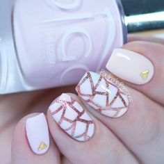 Pastel and Rose Gold Nails - Geometric Nail Design
