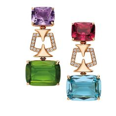 The perfect pop of colour. Pink gold mismatched earrings set with amethyst, peridot, rubellite, aquamarine and diamonds by Bulgari. Mom Jewelry, I Love Jewelry, High Jewelry, Jewelry Design, Statement Jewelry, Stone Jewelry, Bulgari Jewelry, Amethyst Jewelry, Ruby Earrings