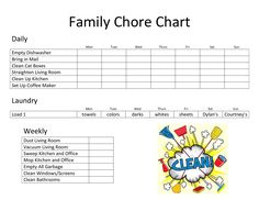 Chore Calendar for Family Fresh Daily Family Chore Chart Template Chore Schedule, Chore Checklist, Chore List, Cleaning Checklist, Chore Chart Template, Free Printable Chore Charts, List Template, Chore Chart For Toddlers, Charts For Kids