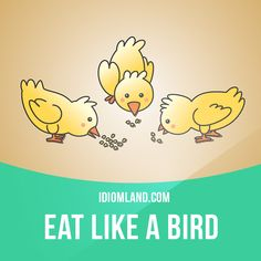 """Eat like a bird"" means ""to eat very little"". Example: Kim eats like a bird. That's why she's so thin. English Phrases, English Idioms, English Words, English Lessons, English Language, Language Arts, English Study, Learn English, Living English"