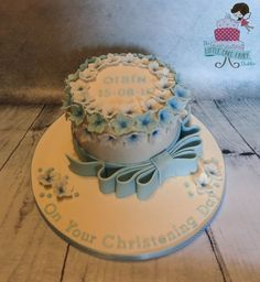Blue Floral Christening Cake  www.littlecakefairydublin.com www.facebook.com/littlecakefairydublin Baby Shower Cakes, Christening, Birthday Cake, Facebook, Floral, Desserts, Blue, Food, Cakes Baby Showers