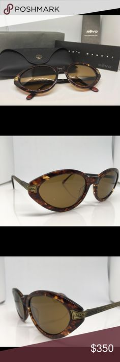 Vintage Revo Amadeus Sunglasses New Old Stock Never Worn Vintage REVO Amadeus Sunglasses mod 1405/017 These are in original mint condition Never Worn New Old Stock. Complete in case with paperwork and box. The Frames measure 140mm from temple to temple with 55x40mm brown glass lenses surrounded by a tortoise shell frame. The stems are antique gold metal with very intricate etched detail with the REVO logo incorporated into them. They're attached by spring loaded hinges. On the inside right…