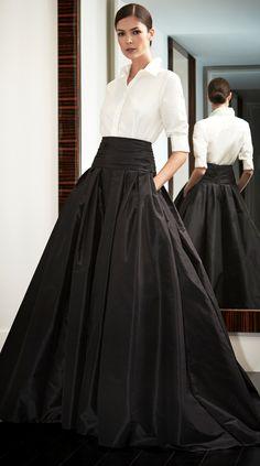 Look to Love: Beautiful Ball Skirts {The Most Classic Way to Wear a Ball Skirt by Carolina Herrera, of Course! Look Fashion, High Fashion, Fashion Beauty, Fashion Clothes, Formal Fashion, Feminine Fashion, Fashion Outfits, Classic Fashion, Style Clothes