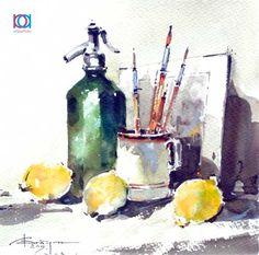 Corneliu Drăgan-Târgoviște - Natură moartă cu lămâi / Still life with lemons, 18…
