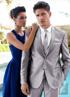 Silver 'Swagger' Tuxedo from http://www.mytuxedocatalog.com/catalog/rental-tuxedos-and-suits/C999-Silver-Swagger-Tuxedo/