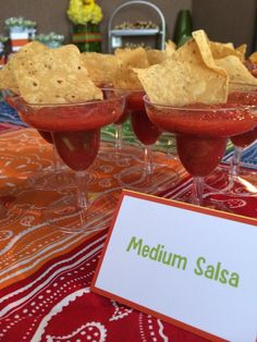 Mexican Fiesta themed party for Cinco de Mayo | cute mini margarita glass appetizers with chips and salsa