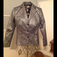 silver and grey broquet fabric Done in typical Chico's fashion. Simply stunning! Chico's Jackets & Coats Blazers