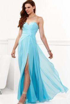 Long light blue dress with split on leg