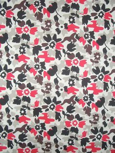 Beige Black and Red Floral Camouflage Print