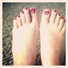 I painted :)'s on my toenails to remind myself to stay positive, happy & confident<3