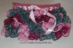 Crochet Sashay Ruffle toddler Skirt. What a clever idea to use Sashay yarn to make a tutu-esque skirt. How adorable!