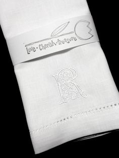 Set of 4 Scroll Monogrammed Cloth Napkins Embroidered by WhiteTulipEmbroidery, $18.99 Wedding gift ideas