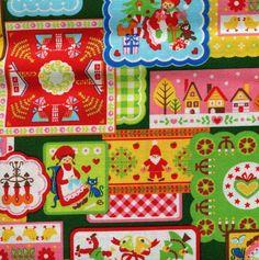 SALE Christmas Patchwork Fabric- Dark Green - Half Yard - Japanese Fabric