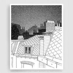 Paris illustration Paris rooftops b&w Black and white by tubidu Paris Home, Paris Art, Paris Drawing, Paris Wall Decor, Axonometric Drawing, Paris Rooftops, Romantic Paris, House Illustration, Black And White Illustration