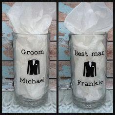 One Personalized Beer Mug / personalized beer mug / groomsmen gifts / vinyl letter / wedding gifts. $10.99, via Etsy.