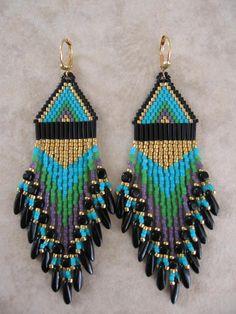 Seed Bead Earrings  Turquoise/Green/Purple/Black  by pattimacs, #beadwork