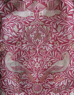 William Morris Bird Woven Cloth, was available in Blue, Green & Red colourways.