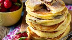 Ονειρεμένα pancakes γεμιστά με σοκολάτα Finger Foods, Pancakes, Sugar, Cooking, Breakfast, Sweet, Recipes, Kitchen, Morning Coffee
