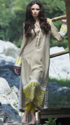 Buy Beige/Lime Green Embroidered Linen Salwar Kameez by Mahiymaan by Al-Zohaib Textile Winter Collection