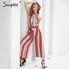Simplee Halter backless red stripe sexy jumpsuit romper Summer bow sleeveless long overalls Elegant beach playsuit women outfit