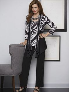 Mandisa 3-Piece Pant Set from Midnight Velvet. The perfect travel companion: this striking ensemble packs well into a small space. Solid and print 3/4-sleeve jacket, print V-neck tank and solid, pants with back elastic waist.