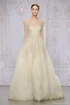 monique lhuillier bridal fall 2015 elizabeth rose gold ball gown wedding dress illusion long sleeves