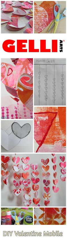 Gelli® Printed Valentine Mobile - Great project for all ages and a great gift! Super fun. Check out complete instructions on Gelli Arts® blog.