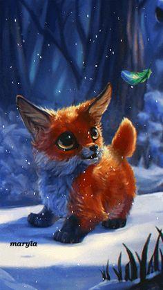 Animation Un petit renard regardant un stylo suspendu - イラスト amour Pet Anime, Anime Animals, Anime Art, Cute Animal Drawings, Cute Drawings, Cute Fox Drawing, Baby Drawing, Animal Pictures, Cute Pictures