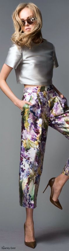 Bibhu Mohapatra ~ Resort Cropped Grey Silk Top w Purple Floral Pant 2016