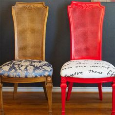 """It wasn't our style, but it was sturdy and comfortable, and... ""Love the one you're with"", so after living with the hand-me-down dining set for three years, @DesignMindCoZa was ready for a budget-friendly upgrade."" said Sarah. Here's how she transformed her dining chairs with Rust-Oleum gloss apple red spray paint in a weekend. http://www.rustoleum.com/product-catalog/consumer-brands/painters-touch-ultra-cover-2x/gloss/"