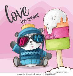 Panda Mignon, Panda Lindo, Love Ice Cream, Cute Panda, Illustrations, How To Draw Hands, Family Guy, Hand Drawn, Fictional Characters