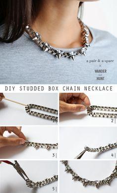 DIY Studded Box Chain Necklace   Wander & Hunt DIY Supplies