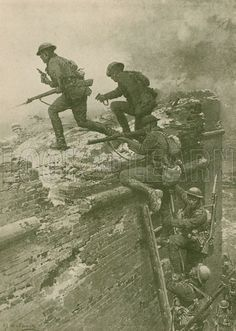 The storming of Le Quesnoy by New Zealand troops, World War I, 4 November 1918. One of the most gallant feats of the closing days of the Great War. The brick rampart was crowned with German machine-guns, but the New Zealanders managed to bring up a 30 ft ladder, and ascended in single file amid a hail of bullets, soon driving the enemy down the reverse slope of the bastion and capturing the town. Illustration for The Wonder Book of Soldiers (Ward Lock, c 1920).