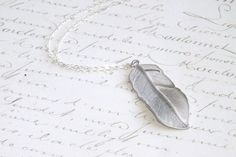 Silver Feather Necklace Sterling Silver Chain