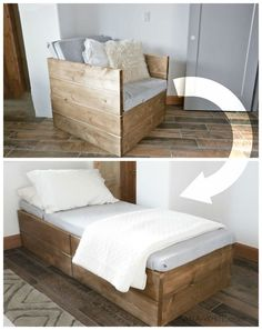 DIY Chair that folds into bed Perfect for extra sleeping in a tiny house Ana White Twin Sleeper Chair DIY Projects Carpentry Projects, Diy Furniture Projects, Woodworking Furniture, Diy Wood Projects, Diy Woodworking, Woodworking Techniques, Furniture Design, Furniture Chairs, Woodworking Classes