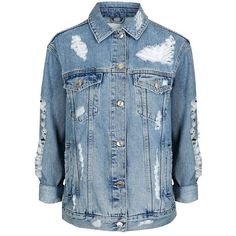 Women's Topshop Ripped Oversize Denim Jacket ($90) ❤ liked on Polyvore featuring outerwear, jackets, grunge jean jacket, grunge denim jacket, distressed jacket, jean jacket and blue jackets