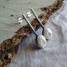 Sterling silver bone moon face earrings. Silver Pearl Ring, Sterling Silver Earrings Studs, Moon Face, Face Earrings, Moon Jewelry, June Birth Stone, Bone Carving, Birthstone Jewelry, Artemis