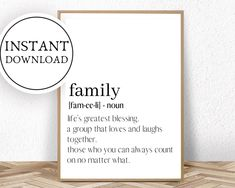 Family Wall Art, Family Print, Midwife Gift, Family Definition, Art Prints Quotes, Paper Size, Definitions, Wall Art Prints, Just For You