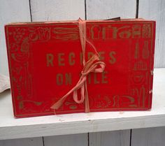 Vintage Recipe Box File 1950s  Retro Red by WeeLambieVintage