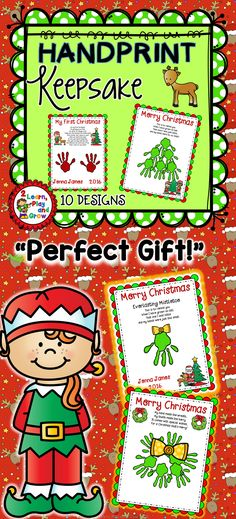 Christmas Handprint Poems make a precious gift for parents and grandparents.  Just click enter your child's name, date and print!  The child's handprints will make it a gift that will be cherished forever.