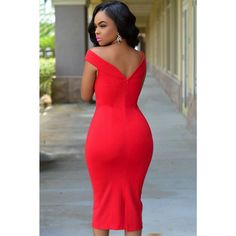 Red Off-The-Shoulder Midi Dress LAVELIQ - LAVELIQ - 2