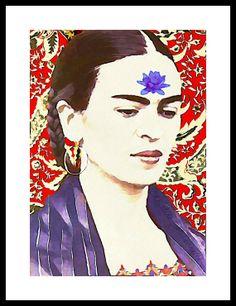 Frida Kahlo Photomontage Watercolor Waterlily by ARTDECADENCE
