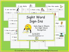 Primary Inspiration: Sight Word Sign-ins - Free Templates!
