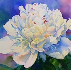 """WHITE QUEEN PEONY watercolor painting"" - Original Fine Art for Sale - © Barbara Fox"