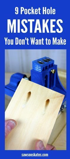 Plans of Woodworking Diy Projects - Do you know how to use a Kreg Jig? Are you making these pocket hole mistakes? Here are 9 tips for avoiding pocket hole mistakes when building DIY projects. Get A Lifetime Of Project Ideas & Inspiration! Learn Woodworking, Easy Woodworking Projects, Woodworking Plans, Popular Woodworking, Carpentry Projects, Woodworking Jigsaw, Intarsia Woodworking, Kreg Jig Plans, Woodworking Techniques
