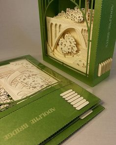 3D pop up card bridge model laser cut card by ColibriGift on Etsy