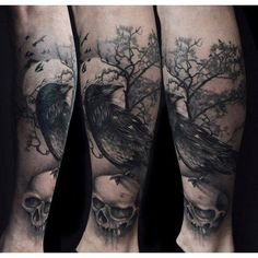 Creepy raven on skull tattoo Tattoomagz.com Tattoo Designs Ink-Works... ❤ liked on Polyvore featuring accessories, body art and tattoos