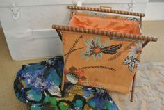 Vintage Knitting Bag Wooden Stand with extra cover Perfect via Etsy