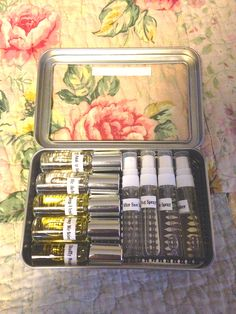 My dear friend Teresa designed these wonderful doTERRA Emergency Kits. We made them at our Tuesday evening class. If you would like to make these for a class, please let me know. They make wonderful gifts and could be used for a craft show. Set includes: Anxiety Relief, Headache Stop, Sleep Blend, Tummy Medicine, Stuffy Nose, After Sun Spray, Bug Spray, Owie Spray, and Hand Sanitizer! Isn't this great?