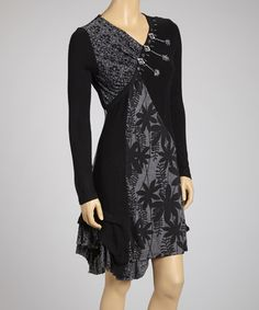 Take a look at this Black Floral Patchwork Dress by Shana-K on #zulily today!